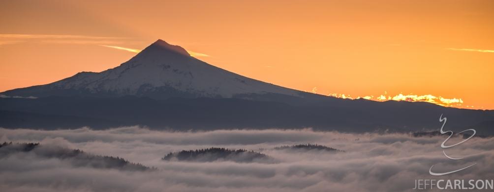 Mount Hood sunrise captured from Pittock Mansion, Portland, Oregon.