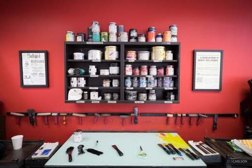 The ink mixing station at the School of Visual Concepts.