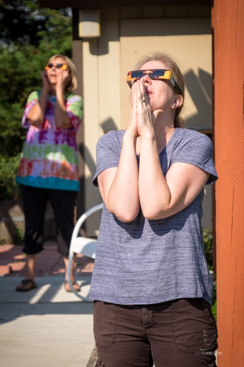 Kim and Susan Watching the Eclipse