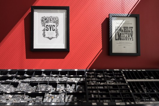 The press room at the School of Visual Concepts is gorgeous by itself, with hand-printed pieces on the red walls and plenty of metal type.