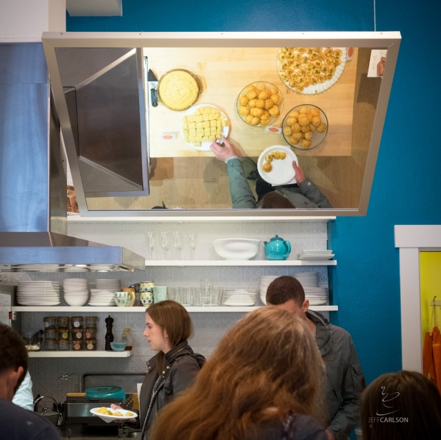 Let's take a moment to ooh and ahh over the slanted mirror above the prep area, which allows anyone attending a class or presentation to see what's happening. At the Great Book Larder Bakeoff: Savory Bakes.